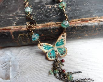 Pottery Butterfly Necklace Adajustable length Choker