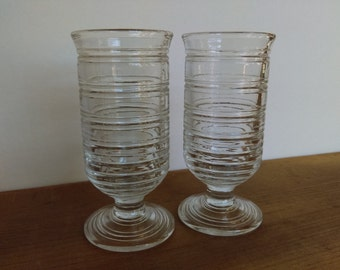 SALE Vintage Juice Glasses Clear Pressed Glass