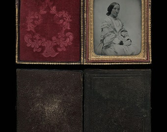 RESERVED / Do Not Buy // 1/6 ambrotype of a serene woman - full pebbled leather case