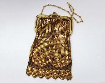 Whiting and Davis deco mesh & enamel bag purse - lovely pattern - gold tone and dark red - 1930s - Exc Cond