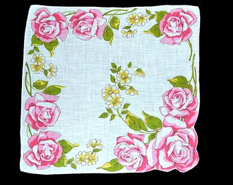 VINTAGE HANKIE, 8 Large Roses on White Ground Yellow Accent Flowers White Hand Rolled Hem, Excellent Condition