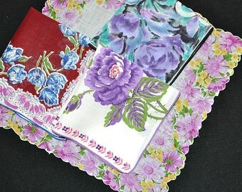 HANKIE ASSORTMENT Purple Blue Aqua Roses Tulips Daisies Lehner Print Linen Scalloped Straight Corded & Rolled Edges Excellent Condition