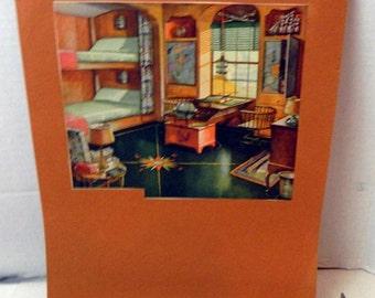 vintage print of apartment, dorm, room. ephemera, collectible, paper