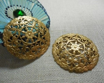 Fancy Round Domed Filigree Brass Stamping Relic Charm Focal Layers