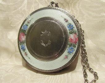 Victorian Compact Purse Guilloche Wristlet Makeup Mirror Compact