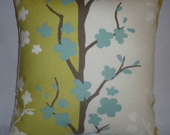 """4 X Green Pillow Covers Funky Floral Retro Blue Cushions Covers Decorative Shams Slips Throws 16"""" (40cm)"""