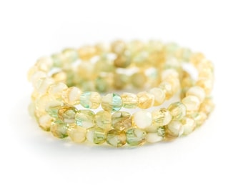 Spacer Beads, Yellow Green / Aqua Mix Czech Glass, Semi-Transparent Fire Polished Faceted Rounds, 4mm x 50pc (0012)