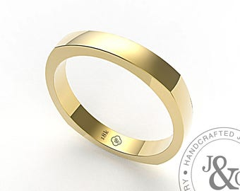 Square Wedding Ring in Yellow Gold