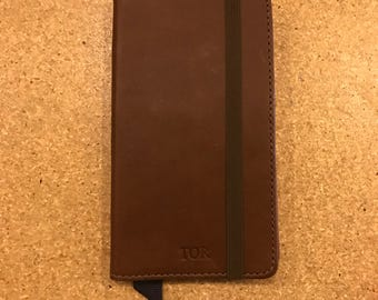 SECONDS - The Luxury Book Case for iPhone 7 Plus - Whiskey Brown and Deep Sea Blue (PRE-MONOGRAMMED)