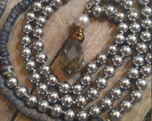 Vintage Faux Gray Pearl and Labradorite Long Necklace