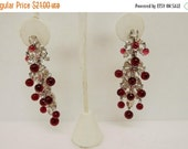 HolidaySale Vintage Pair of Clear Prong Set Rhinestone and Red Lucite Dangle Clip Earrings