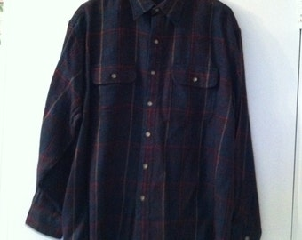 Wool blend plaid shirt mens large