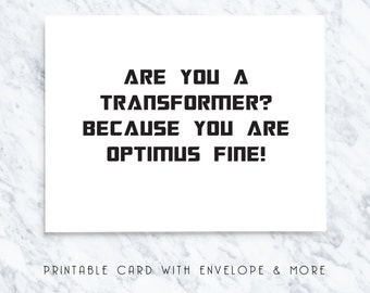 optimus fine, valentines cards, printable valentines day card, printable valentines card, transformer card, transformer note