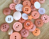 Coral hand dyed buttons, small button lot, tangerine, orange, assorted peach dyed buttons
