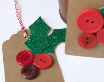 Button Christmas Tags, Holly Tags, Kraft Christmas Tags, Set of Four