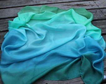 Ocean ombré Striped Playsilks Teal Aqua Turquoise ~ Hand Dyed ~ Waldorf ~ Silk Scarf