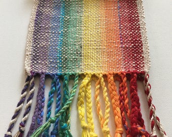 Handwoven Rainbow Ombre Kids Scarf- Plant Fiber, or Table Runner