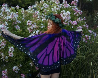 Purple Pink Butterfly Fairy cape cloak wings costume short small fantasy dance gothic lolita