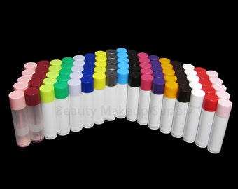 100 Empty Lip Balm Containers Tubes - 0.15 oz   17 Color Options    FREE US Shipping