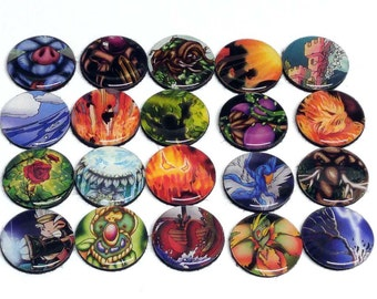 20 Magi Nation Upcycled Life Counters / Creature Tokens for MtG or WoW TCG Black Felt Backed