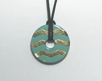 Metal Washer Pendant, Turquoise and Gold Pendant, Gold Chevron Necklace, Turquoise and Gold Necklace, Metal Washer Jewelry