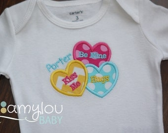 Candy Heart Valentine BODYSUIT - Pink, Yellow, and Aqua - Valentine's Day - Baby Girl - Personalized