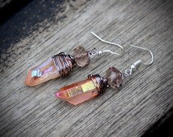 Peach titanium quartz crystal earrings