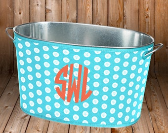 Monogrammed Beverage Drink Tub - Personalized Cover - Housewarming Gift - Wedding Shower Gift - Party Tub - Sand Dollar - Pineapple - Coral