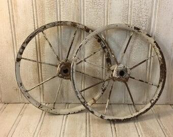 Vintage Shabby Chic Metal Buggy Wheels