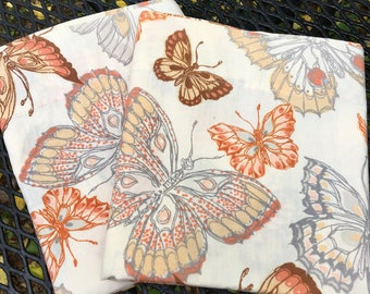 Vintage Set of Butterfly Pillowcases Brown and Gray 1970's