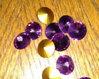 14mm Swarovski crystal Rivoli Amethyst