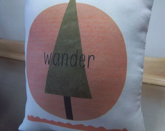 wander pillow wander throw pillow minimal baby room decor poplin cushion Nordic nursery decor toddler birthday gift adventure pillows