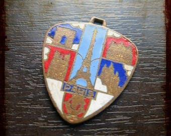 Rare antique french enameled medal with Tower Eiffel and Notre Dame and monuments of Paris - Jewelry from France for Repurposed Projects