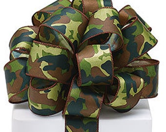5+ Yards Wired Camouflage Camo Ribbon - #9  - 1.5 Inch