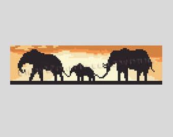 African Elephants Cross Stitch, Africa Pattern, African Cross Stitch, Elephants Pattern, Africa, African Pattern by NewYorkNeedleworks Etsy