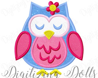 Girly Flower Owl Applique Embroidery Design 2x2 3x3 4x4 5x7 6x10 Fall Euro INSTANT DOWNLOAD
