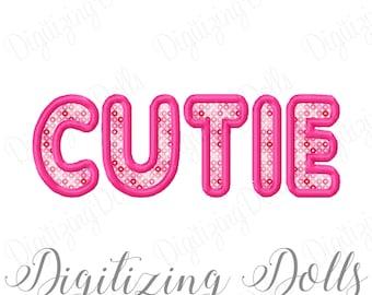 CUTIE Applique Machine Embroidery Design 4x4 5x5 6x6 5x7 8x8 6x10 INSTANT DOWNLOAD