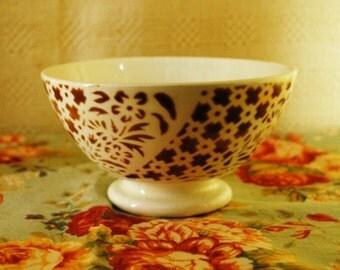 Antique FRENCH Cafè au lait BOWL Art Decò BROWN