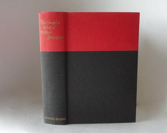 The Complete WORKS of Wm SHAKESPEARE 1970 Vintage Book Black Red Hardcover Dust Jacket Decorative Pretty Old Book Poetry Sonnetts Library