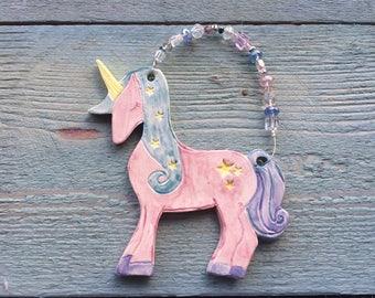 Pink Unicorn, Hanging Unicorn Ornament, Sparkly Unicorn, Pastel Unicorn, Unicorn accessories, Stars Home Decor, Unicorn Home decoration.