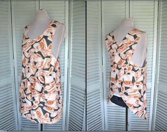 Cross Back No Tie Apron/Smock-Japanese Apron-Retro Record Players-Pewter Gray-Tangerine-Mothers Day Gift-size Med/Large