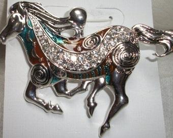 Western Blue Multicolored magnetic horse pendant