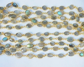 "1FT(12 "") Gold plated sterling silver bezeled, faceted chain  (15-17 from loop to loop, 6-8mm width) labradorite link chain,"