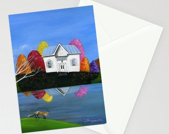 Hilly Hunter - Folk Art Greeting Card - Fall Foliage Colors, Waterfront White Cottage reflected on the lake with a red fox looking back
