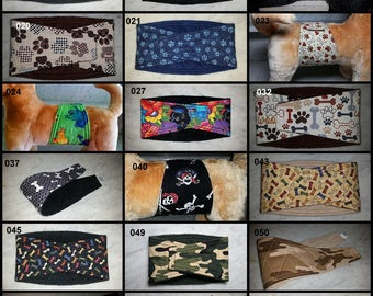 Custom Made Belly Band for Your Male Dog by SewDog in Any WAIST size, WIDTH size and FABRIC    3-Layer Padded Quilted Belt Wrap Diaper