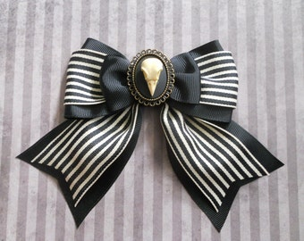 Gothic Lolita hair bow Bird skull cameo stripe bow clip