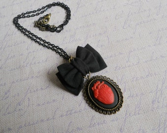 Red heart cameo necklace small black bow Gothic lolita