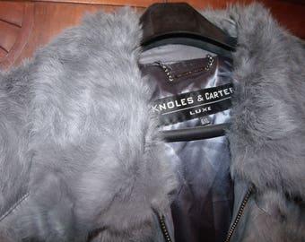men's 6x gray Genuine fur and leather Coat