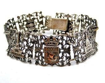 Vintage French Paris silver filigree souvenir bracelet Eiffel tower