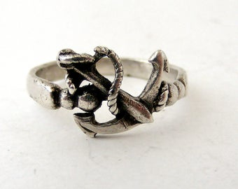 Vintage sterling silver fouled anchor ring